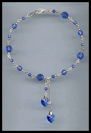 Sapphire Blue Heart Anklet