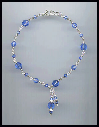Sapphire Blue Crystal Anklet