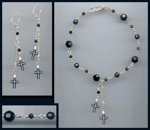 Frosted Black Crystal Cross Anklet