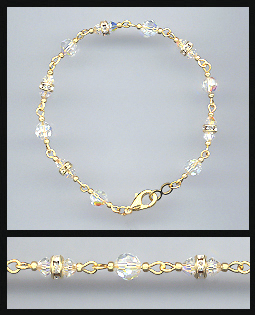 Gold Aurora Borealis Crystal and Rondelles Bracelet