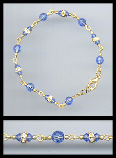 Gold Sapphire Blue Crystal and Rondelles Bracelet