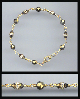 Gold Dorado Gold Crystal and Rondelles Bracelet