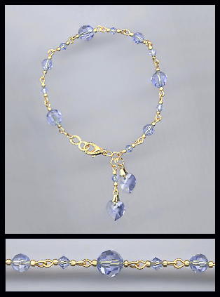 Gold Light Blue Double Crystal Heart Bracelet