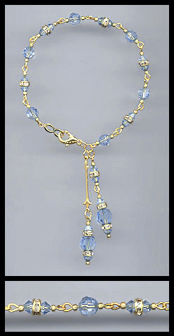 Gold Light Blue Crystal Rondelle Bracelet