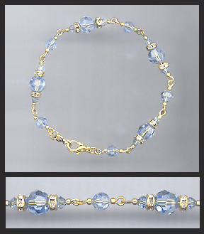 Gold Light Blue Crystal Bracelet