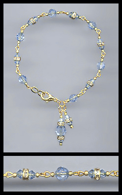 Gold Light Blue Rondelle Charm Bracelet
