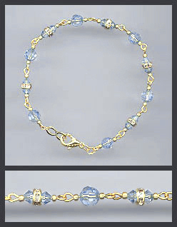 Gold Light Blue Crystal and Rondelles Bracelet