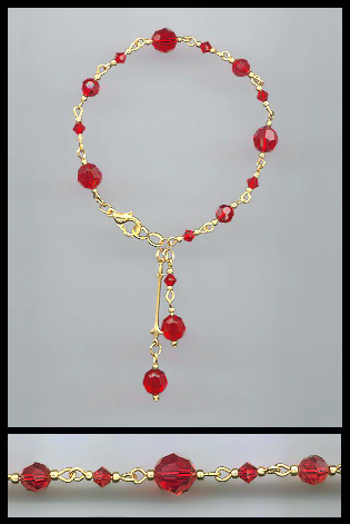 Gold Swarovski Cherry Red Crystal Anklet