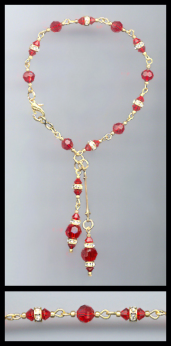 Gold Cherry Red Crystal Rondelle Anklet