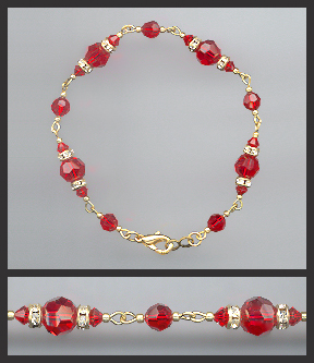 Gold Cherry Red Crystal Anklet