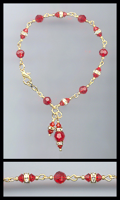 Gold Cherry Red Rondelle Charm Anklet