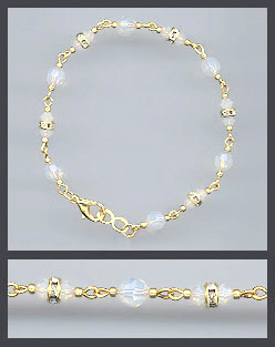 Gold Opal White Crystal and Rondelles Bracelet
