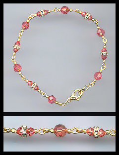 Gold Coral Crystal and Rondelle Anklet
