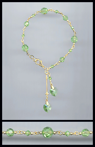 Gold Peridot Green Double Heart Bracelet