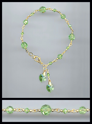 Gold Peridot Green Double Crystal Heart Bracelet