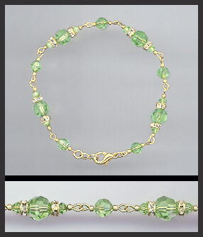Gold Peridot Green Crystal Bracelet