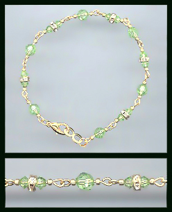 Gold Peridot Green Crystal and Rondelles Bracelet