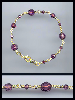 Gold Amethyst Purple Crystal Bracelet