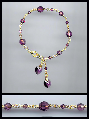 Gold Amethyst Purple Double Crystal Heart Bracelet