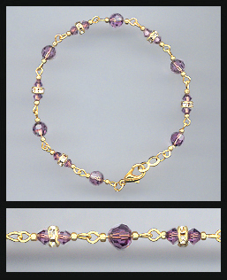 Gold Amethyst Purple Crystal and Rondelles Bracelet