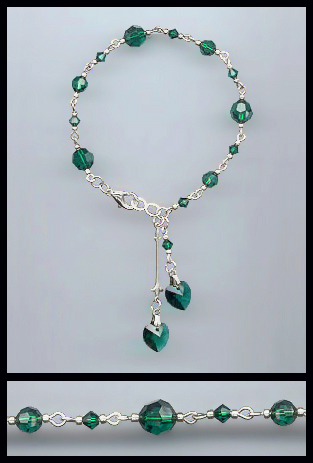 Swarovski Emerald Green Crystal Heart Bracelet
