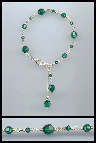 Swarovski Emerald Green Crystal Drop Bracelet