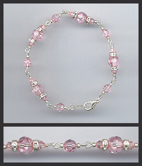 Silver Light Pink Crystal Bracelet