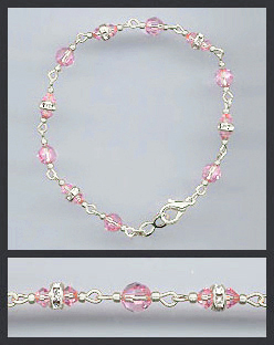 Silver Light Pink Crystal and Rondelle Bracelet