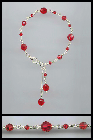 Swarovski Red Crystal Drop Bracelet