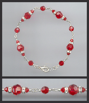 Red Crystal Rondelle Bracelet