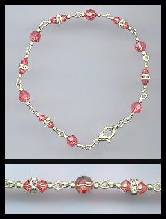 Silver Coral Crystal and Rondelle Bracelet