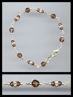 Silver Coffee Brown Crystal and Rondelles Bracelet