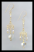 Gold Filigree and Aurora Borealis Crystal Earrings