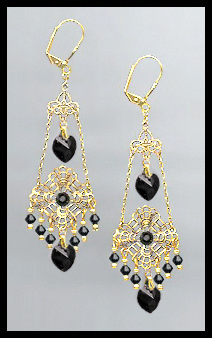 Swarovski Jet Black Heart Filigree Earrings