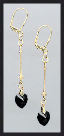Simple Jet Black Crystal Heart Earrings