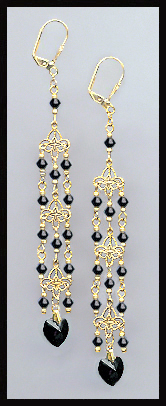 Jet Black Crystal Heart Chandelier Earrings