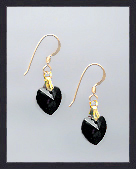 Tiny Jet Black Crystal Heart Earrings