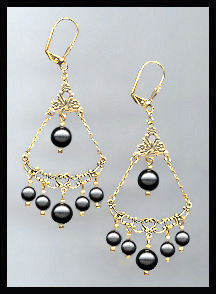 Swarovski Black Crystal Pearl Earrings