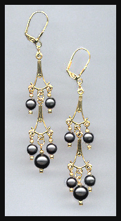 Black Crystal Pearl Dangle Earrings