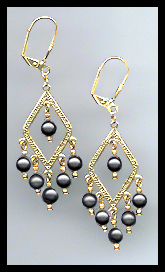 Black Crystal Pearl Earrings