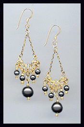 Vintage Black Pearl Earrings