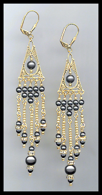 Long Black Pearl Earrings