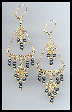 Black Crystal Pearl Chandelier Earrings