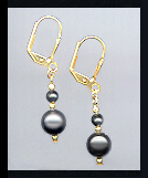 Small Black Crystal Pearl Earrings