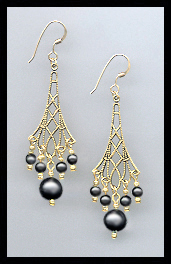 Black Pearl Vintage Earrings
