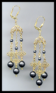 Swarovski Black Pearl Chandelier Earrings
