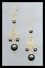 Black Crystal Pearl Filigree Earrings