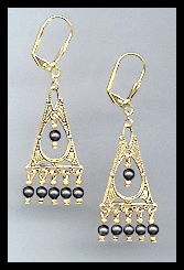 Deco Style Black Crystal Pearl Earrings