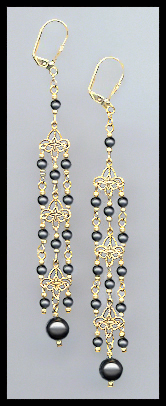 "4"" Black Crystal Pearl Chandelier Earrings"