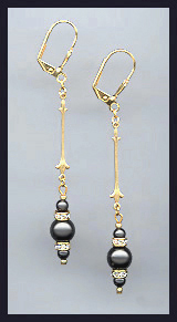 Black Crystal Pearl Drop Earrings